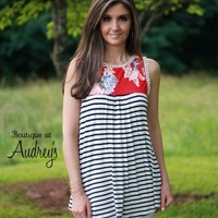 Red Floral Print and Black Stripe Sleeveless Top - Boutique At Audrey's