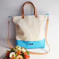 Extra large XL canvas tote bag shopping bag casual tote school bag light blue beige book bag beige genuine leather straps for women