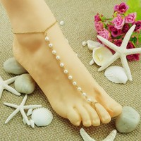 New Arrival Cute Sexy Shiny Gift Ladies Jewelry Summer Hot Sale Stylish Simple Design Pearls Handcrafts Anklet [6768801095]
