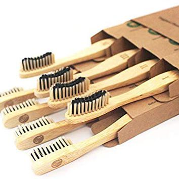 Bamboo Toothbrush Charcoal Infused Bristles - BPA Free Soft Bristle, Organic Vegan tooth brush, Biodegradable Reusable Bamboo Toothbrushes | Eco-Friendly Natural Teeth Whitening| Adults set of 8