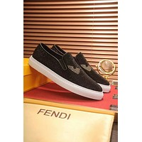 FENDI Slip-On Newest Fashion Men Comfortable Leather Sneakers Sport Shoes Black(White Soles)