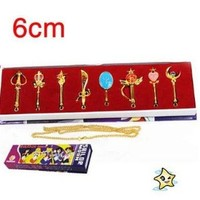 8 Pcs A Set Sailor Moon Magic Wand Hanging Buckle Keychain New Collection