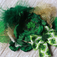 ST PATRICKS day headband, baby girl, toddler adult, green, shamrock, ott, over the top, boutique, photo prop, irish, gold, bow, march