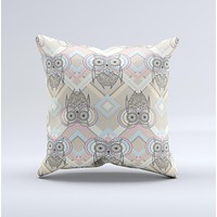Vintage Abstract Owl Tan Pattern Ink-Fuzed Decorative Throw Pillow