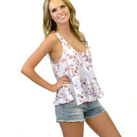 Pickup Truck Date Night Lavender Floral Blouse