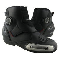 Men Sport Ride Motorcycle Racing Offroad High Fiber Leather Shoes Black Boots