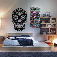 Sugar Skull Wall Decal Day of the Dead Wall Art Sticker Decal Car Sticker Laptop Sticker Car Decal CHOOSE A SIZE!