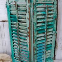 Hand painted Caribbean turquoise aqua wooden shutter beach cottage distressed  home decor Anita Spero