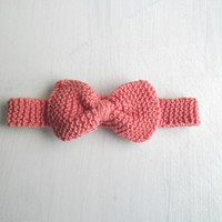 Knit bow choker bowtie peach pink spring accessories
