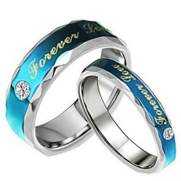 Forever Love Blue Couple Ring Set 316L Stainless Steel Jewelry His and Hers Matching Engagement Ring Cute