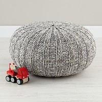 Variegated Grey Pouf|The Land of Nod