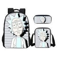 Anime Backpack School VEEVANV Brand Designer Backpacks Pencil Case 3pcs/Set Cartoon kawaii cute Funny Rick And Morty Printing 3D Bag Bookbag Mochila Escolar AT_60_4