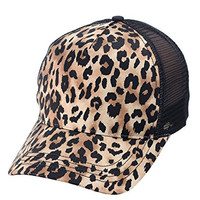 NYfashion101 Unisex Animal Print Adjustable Snapback Mesh Trucker Cap (Brown Cheetah)
