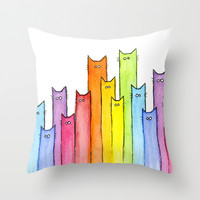Rainbow of Cats Throw Pillow by Olechka