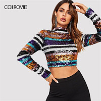 COLROVIE Colorful Sequin Crop Party T-Shirt Women Clothing 2019 Spring Korean Fashion Long Sleeve Shirts Tee Club Ladies Tops