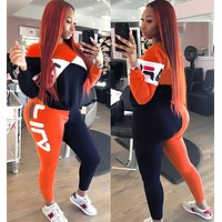 FILA Newest Fashionable Women Casual Long Sleeve Top Pants Trousers Sport Set Two-Piece Orange