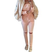 Ripped Cut Out Autumn Jumpsuit Drawstring Off Shoulder Overalls For Women Bodysuit Rompers Womens Jumpsuit Casual Playsuit