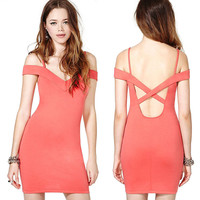 Pink  Off-Shoulder Crossover Cutout  Back Bodycon Mini Dress