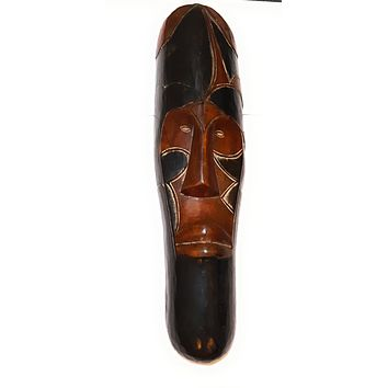 """🎁 ONE DAY SALE 12"""" African Gabon Cameroon Wood Fang Mask in Brown and Black"""