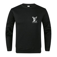 LV Louis Vuitton Autumn And Winter New Fashion Bust Letter Print Women Men Long Sleeve Top Sweater Black