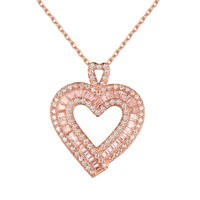 Heart Pendant Chain Baguette Lab Diamond Rose Gold Tone