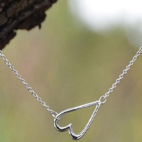 Sterling Silver Sideways Heart Necklace