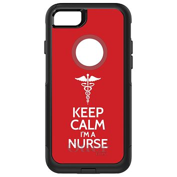 """DistinctInk™ OtterBox Commuter Series Case for Apple iPhone or Samsung Galaxy - Red White """"Keep Calm Im a Nurse"""""""