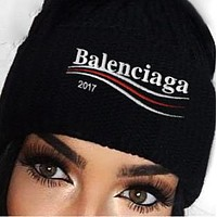 Balenciaga Black Hat Knitting Colorful Logo Women Men Keep warm Cap Black