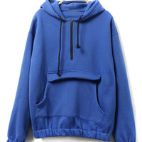 Royal Blue Zipper Pocket Detail Fleece Lining Long Sleeve Hoodie