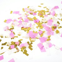 Pink White Metallic Gold Foil Shredded Confetti Paper Party Decoration