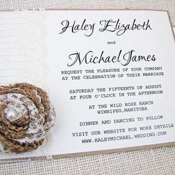 Rustic Country shabby chic Lace and Burlap Flower Wedding Invitation Deposit listing