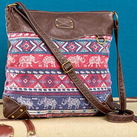 Elephant Printed Crossbody Bag-Wine
