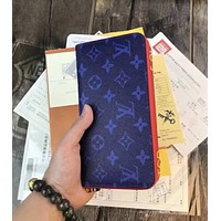 LV Trending New Women Shopping Leather Print Wallet Purse Blue I-AGG-CZDL