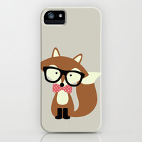 Glasses and Bow Tie Hipster Brown Fox iPhone & iPod Case by heartlocked