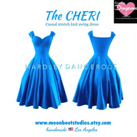 The CHERI Dress, Electric Turquoise Blue capped sleeve ROCKABILLY Everyday Dress by Hardley Dangerous, Pin Up 1950s Everyday Dress