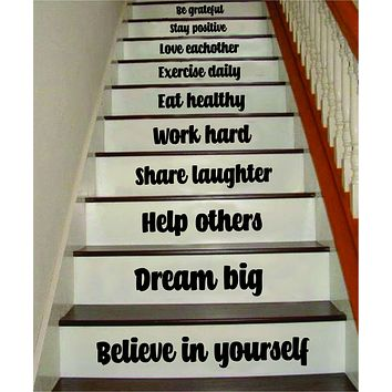 Believe in Yourself Stairs Quote Wall Decal Sticker Room Art Vinyl Family Home House Staircase Dream Inspirational Love Health Dream Adventure