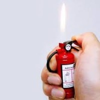 Fire Extinguisher Design Flame Lighter with LED Flashlight Red