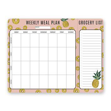 Pineapple Meal Planner Pad & Grocery List