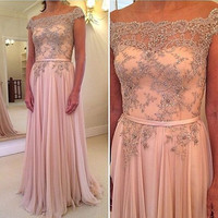 Off Shoulder Prom Dresses,Pink Prom Dresses,Long Evening Dress