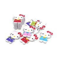 30PCs Wood Sewing Button Scrapbooking Hello Kitty Mixed Two Holes Costura Botones Decorate bottoni botoes 25x20mm D133I4