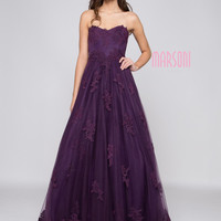 MARSONI M180 Strapless Lace Embroidery Mesh Prom Evening Dress