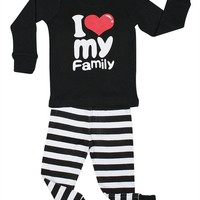 "Elowel ""I Love Family"" 2 Piece Pajama Set 100% Cotton - Size 8"