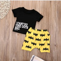 fashion Summer Infant new born baby boy Clothing Set Letter Printed Tops T-Shirt + Shorts coming home outfit photography