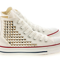 Studded Converse Pyramid studs with converse White high top by CUSTOMDUO on ETSY