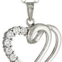 """Sterling Silver Diamond-Accented Open Heart Pendant Necklace, 18"""""""