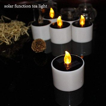 Big Yellow Solar Power Battery Operated Candles-6pcs/lot