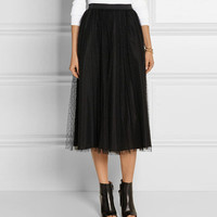 Point Desprit Tulle Layred Sheer Mesh Midi Skirt