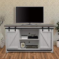 Farmhouse Style Media Console with Barn Style Sliding Door, Brown and White By The Urban Port