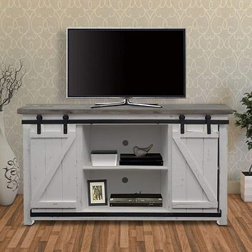 69 Inch Wooden Media Console with Barn Style Sliding Door, Brown and White By The Urban Port