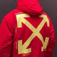 OFF-WHITE winter new men's back big logo logo wild street casual sports hooded cotton coat red